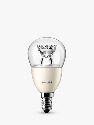 Philips 6W LED SES Golfball Dimmable Lightbulb, Clear