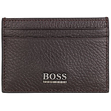 Buy BOSS Sarpey Textured Card Holder, Chocolate Online at johnlewis.com