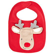 Buy John Lewis Baby's Christmas Reindeer Bib, Red Online at johnlewis.com