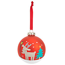 Buy John Lewis Christmas Reindeer Glass Bauble Online at johnlewis.com
