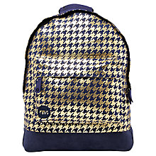Buy Mi-Pac Metallic Houndstooth Backpack, Navy/Gold Online at johnlewis.com