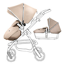 Buy Silver Cross Chrome Pioneer Pushchair Seat, Chassis and Carrycot and Sand/Chrome Essentials Pack, with Simplicity Infant Carrier Online at johnlewis.com