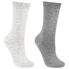 Buy John Lewis Viscose Plain Ankle Socks, Pack of 2 Online at johnlewis.com