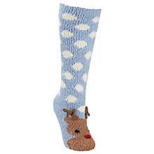 Buy John Lewis Christmas Reindeer Fluffy Knee High Socks, Multi Online at johnlewis.com