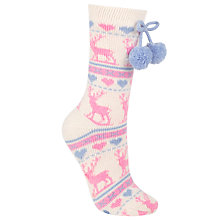 Buy John Lewis Christmas Stag Jaquard Slipper Socks, Pair of 1, Pink Online at johnlewis.com