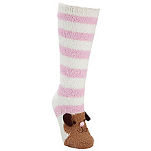 Buy John Lewis Christmas Dog Fluffy Knee High Socks, Pink Online at johnlewis.com