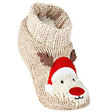 Buy John Lewis Christmas Rudolph Character Bootie Socks, Natural Online at johnlewis.com