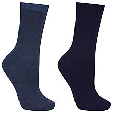 Buy John Lewis Viscose Plain Ankle Socks, Pack of 2, Navy Online at johnlewis.com
