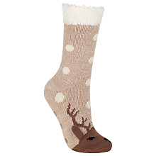 Buy John Lewis Christmas Reindeer Slipper Socks, Natural Online at johnlewis.com