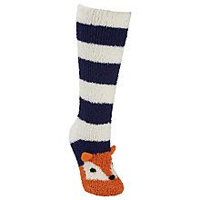 Buy John Lewis Christmas Fox Fluffy Knee High Socks, Multi Online at johnlewis.com