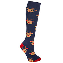 Buy John Lewis Christmas Reindeer Heart Terry Slipper Socks, Multi Online at johnlewis.com