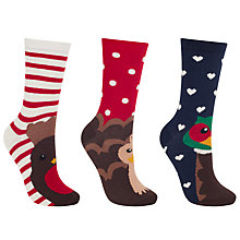 Buy John Lewis Christmas Bird Ankle Socks, Pack of 3, Multi Online at johnlewis.com