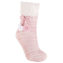 Buy John Lewis Christmas Twisted Ankle Slipper Socks, Pack of 1, Pink Online at johnlewis.com