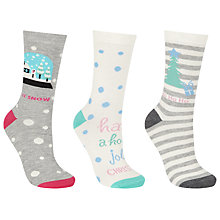 Buy John Lewis Christmas Let It Snow Ankle Socks, Pack of 3, Multi Online at johnlewis.com