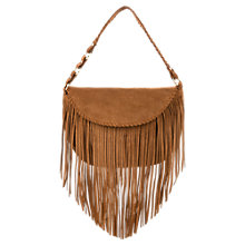 Buy Mango Fringed Suede Bag, Medium Brown Online at johnlewis.com