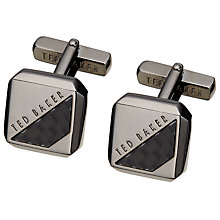 Buy Ted Baker Fibcuff Woven Corner Brass Cufflinks, Gunmetal Online at johnlewis.com