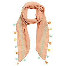 Buy Jigsaw Junior Girls' Cross Stitch Pom Pom Scarf, Peach Online at johnlewis.com