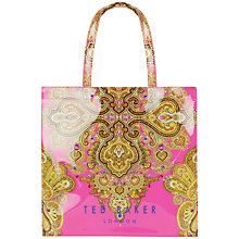 Buy Ted Baker Paiskon Print Large Icon Shopper Bag, Bright Pink Online at johnlewis.com