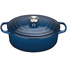 Buy Le Creuset Cast Iron Oval Signature Casserole, 29cm, Ink Online at johnlewis.com