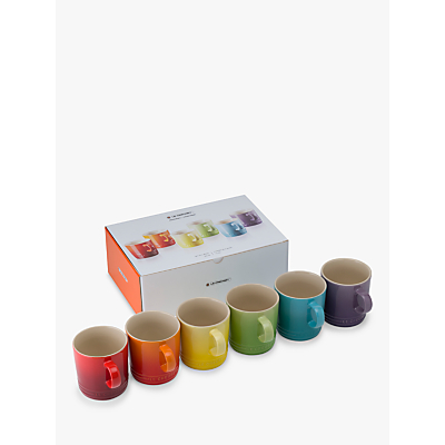 Le Creuset Rainbow Mugs, Set of 6