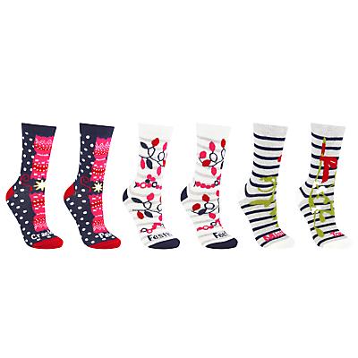 John Lewis Christmas Pun Ankle Socks, Pack of 3, Multi