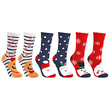 Buy John Lewis Christmas Love Ankle Socks, Pack of 3, Multi Online at johnlewis.com