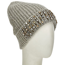 Buy John Lewis Embellished Rib Beanie Hat, Grey Online at johnlewis.com