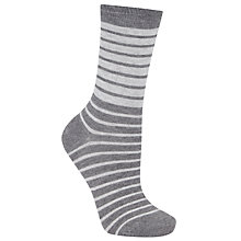 Buy John Lewis Verigated Stripe Ankle Socks, 1 Pair, Grey Online at johnlewis.com
