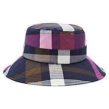 Buy Joules Showerproof Check Hat, Navy/Dark Pink Online at johnlewis.com