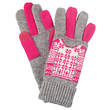 Buy John Lewis Christmas Jumper Tech Gloves, One Size, Pink/Grey Online at johnlewis.com