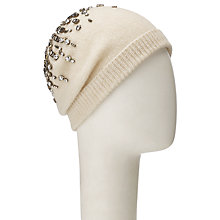Buy John Lewis Waterfall Crystal Bead Beanie, Cream Online at johnlewis.com