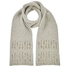 Buy John Lewis Embellished Rib Scarf, Grey Online at johnlewis.com