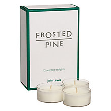 Buy John Lewis Frosted Pine Scented Tealights, Pack of 12 Online at johnlewis.com