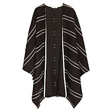 Buy Mango Striped Boucle Cape, Black Online at johnlewis.com