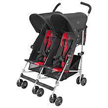 Buy Maclaren Twin Triumph Buggy, Charcoal/Cardinal Red Online at johnlewis.com