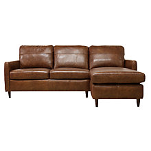Buy John Lewis Dalston Semi-Aniline Leather RHF Chaise End Sofa, Earth Bronx Online at johnlewis.com