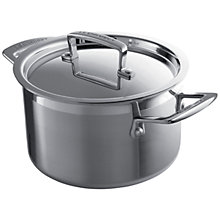 Buy Le Creuset 3-ply Stainless Steel Deep Casserole, 18cm Online at johnlewis.com