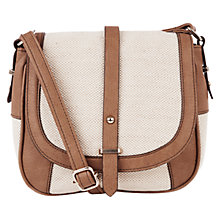 Buy Oasis Canvas Saddle Bag, Light Neutral Online at johnlewis.com