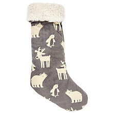 Buy John Lewis Baby's Animal Christmas Stocking, Grey/White Online at johnlewis.com