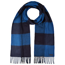 Buy Ted Baker Large Block Check Merino Wool Scarf, Blue Online at johnlewis.com