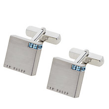 Buy Ted Baker Corner Crystal Block Cufflinks, Blue Online at johnlewis.com