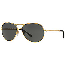 Buy Burberry BE3082 Metal Framed Sunglasses, Gold/Grey Online at johnlewis.com