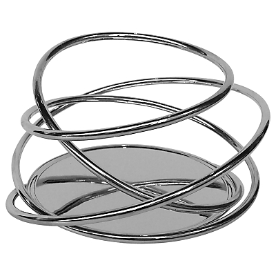 Black and Blum Loop Pillar Candle Holder, Silver