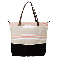 Buy Mango Striped Cotton Blend Leather Panel Handbag, Black/Multi Online at johnlewis.com