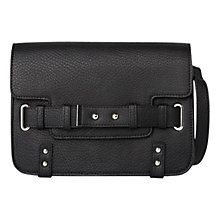 Buy Mango Flap Pebbled Bag, Black Online at johnlewis.com