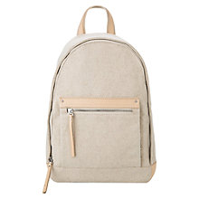 Buy Mango Pocket Linen Backpack, Light Beige Online at johnlewis.com