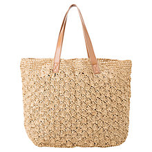 Buy Mango Raffia Shopping Bag, Medium Brown Online at johnlewis.com