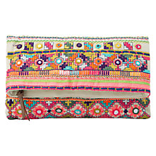 Buy Mango Ethnic Embroidered Clutch Bag, Natural White Online at johnlewis.com