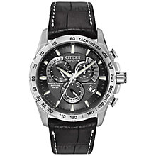 Buy Citizen AT4000-02E Men's Perpetual Chronograph Stainless Steel Leather Strap Watch, Black Online at johnlewis.com