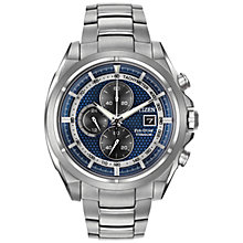 Buy Citizen CA0550-87A Men's Chronograph Titanium Bracelet Strap Watch, Silver/Blue Online at johnlewis.com